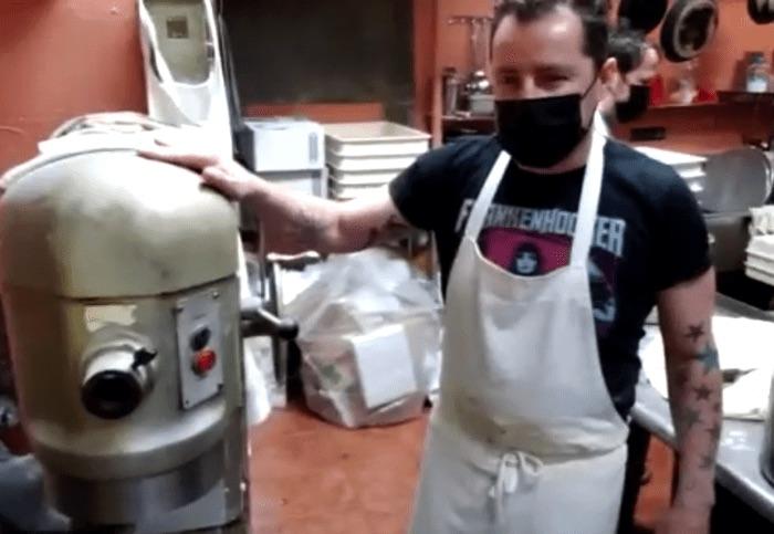Dom Jr with dough mixer