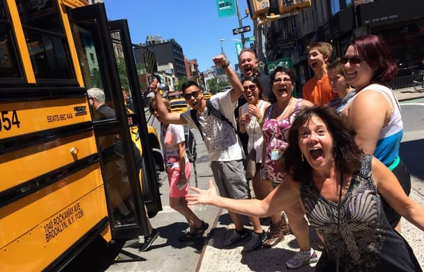 pizza tour bus excited group